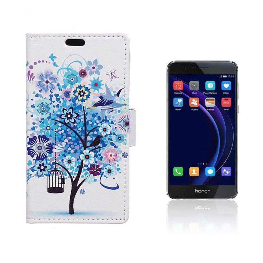 Hagerup Huawei Honor 8 Nahkakotelo Lompakko Sininen Puu