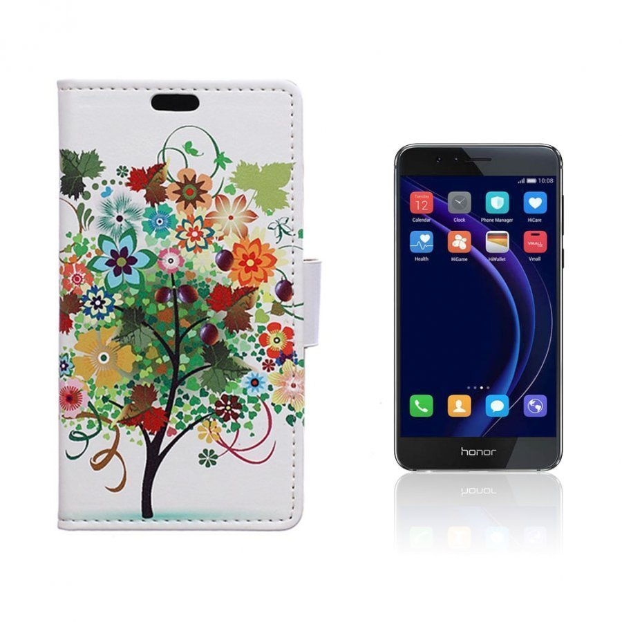 Hagerup Huawei Honor 8 Nahkakotelo Lompakko Väritetty Puu