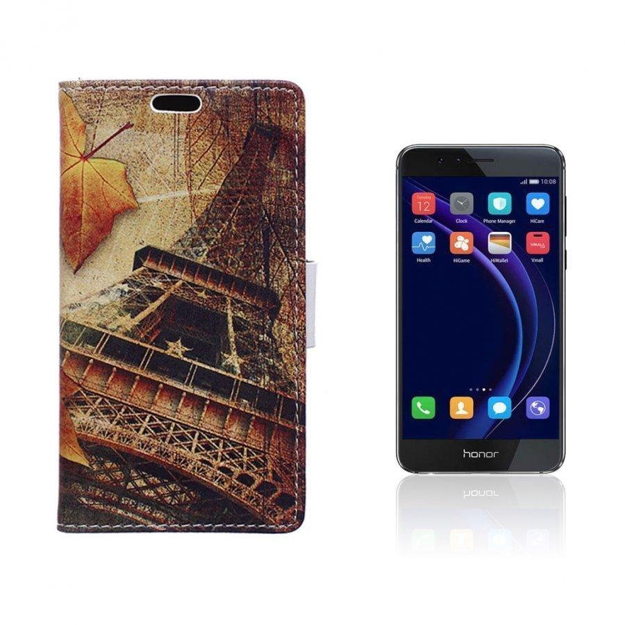 Hagerup Huawei Honor 8 Nahkakotelo Lompakko Vaahteran Lehdet Ja Eiffel Torni