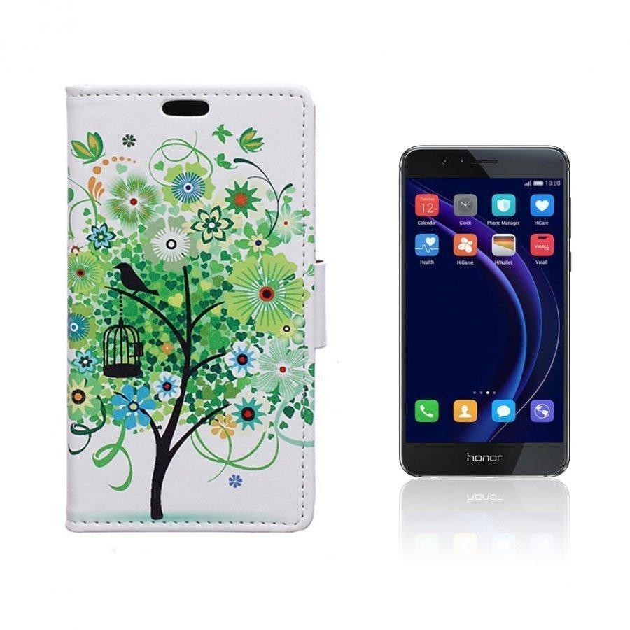 Hagerup Huawei Honor 8 Nahkakotelo Lompakko Vihreä Puu