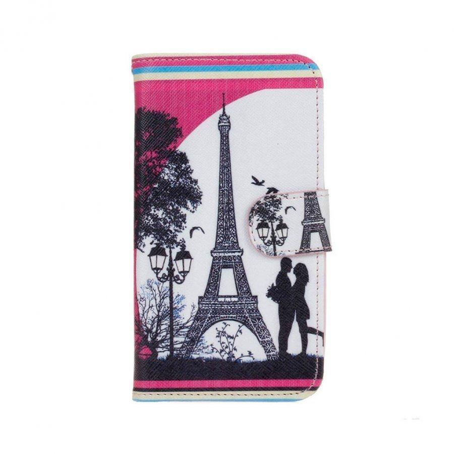 Hagerup Huawei Y5 Y560 Nahkakotelo Lompakko Läpällä Eiffel Torni Ja Rakastavaiset