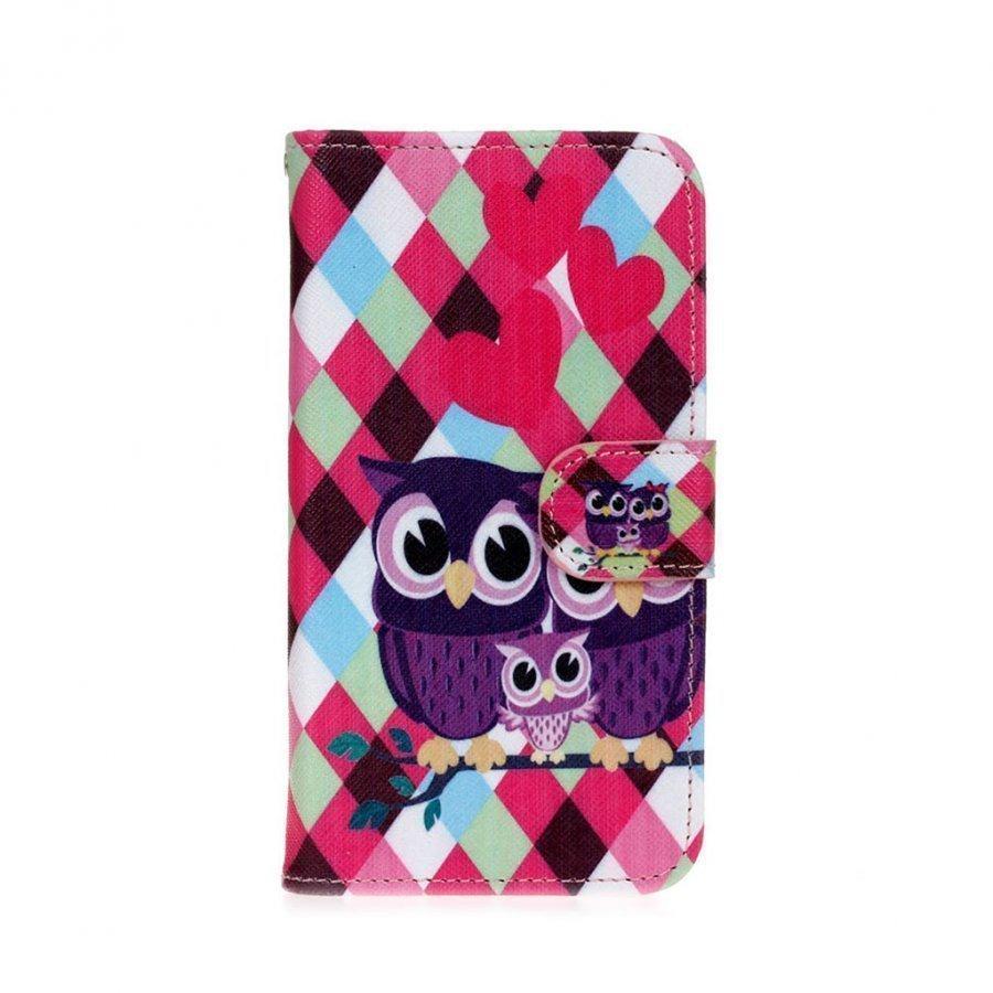 Hagerup Huawei Y5 Y560 Nahkakotelo Lompakko Läpällä Ihana Pöllö Perhe