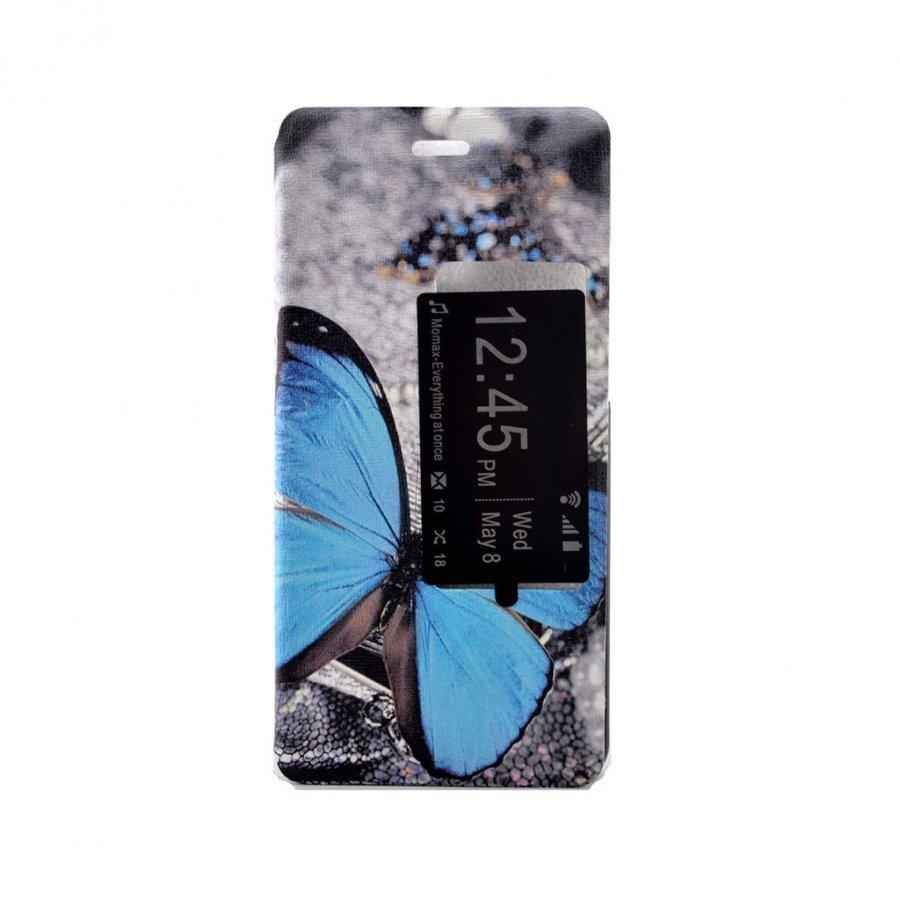 Hagerup Suojaava Nahkakotelo Huawei P9 Puhelimelle Sininen Perhonen