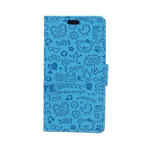 Halfdan Huawei Y360 Nahkakotelo Korttitaskuilla Sininen