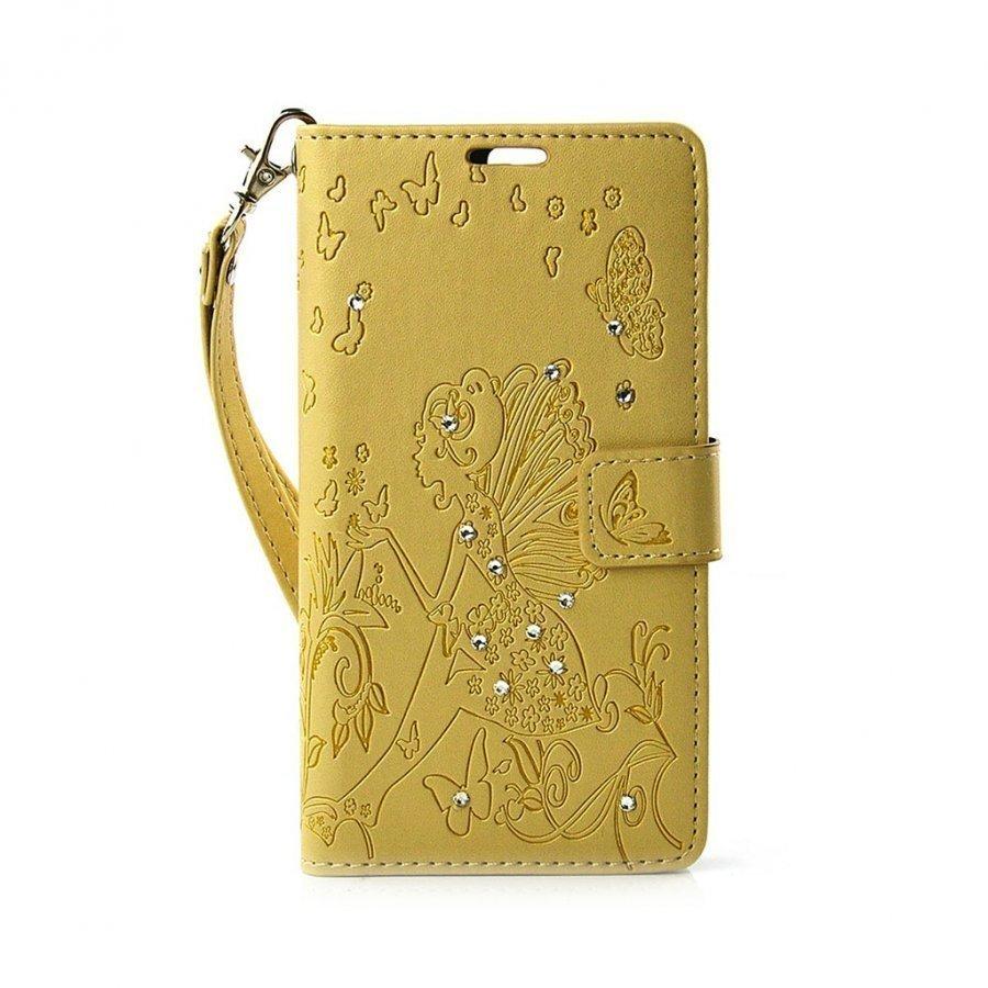 Halfdan Kristallein Koristeltu Nahkakotelo Lompakko Huawei P9 Puhelimelle Keltainen