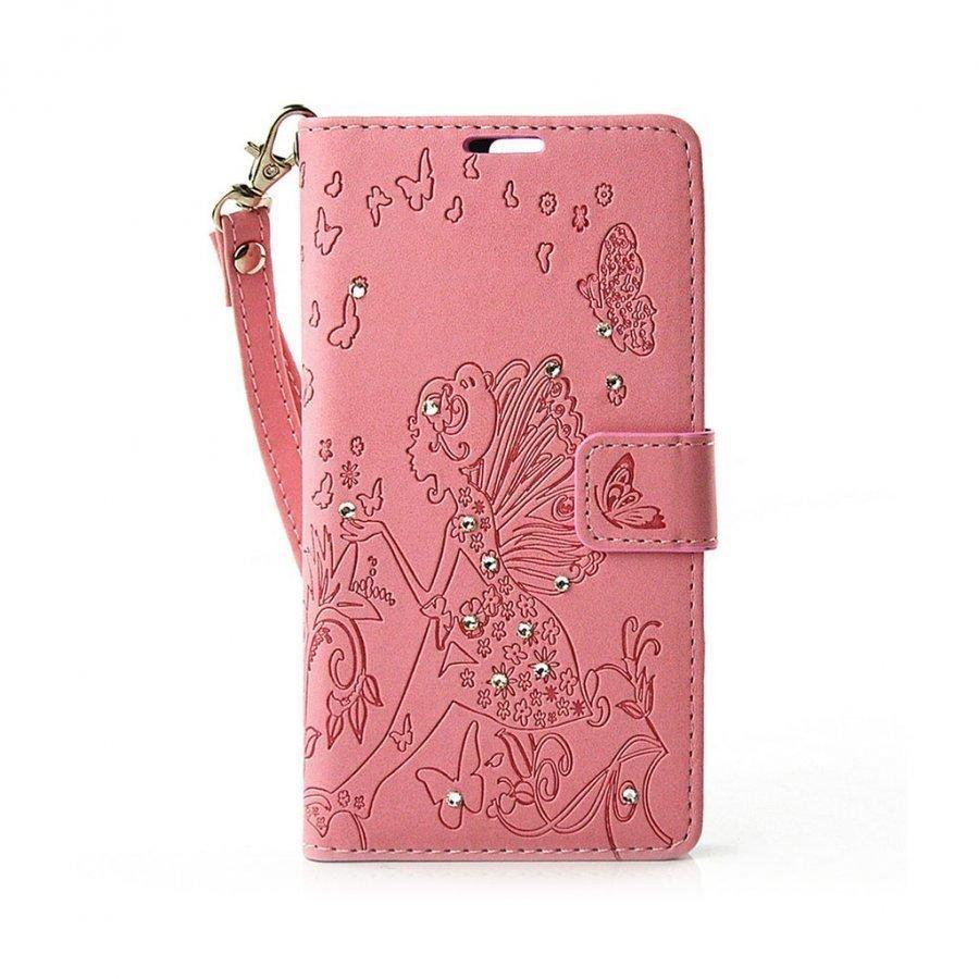 Halfdan Kristallein Koristeltu Nahkakotelo Lompakko Huawei P9 Puhelimelle Pinkki