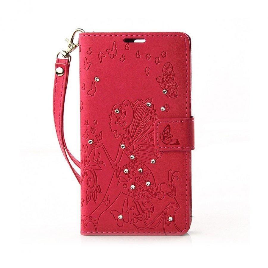 Halfdan Kristallein Koristeltu Nahkakotelo Lompakko Huawei P9 Puhelimelle Punainen