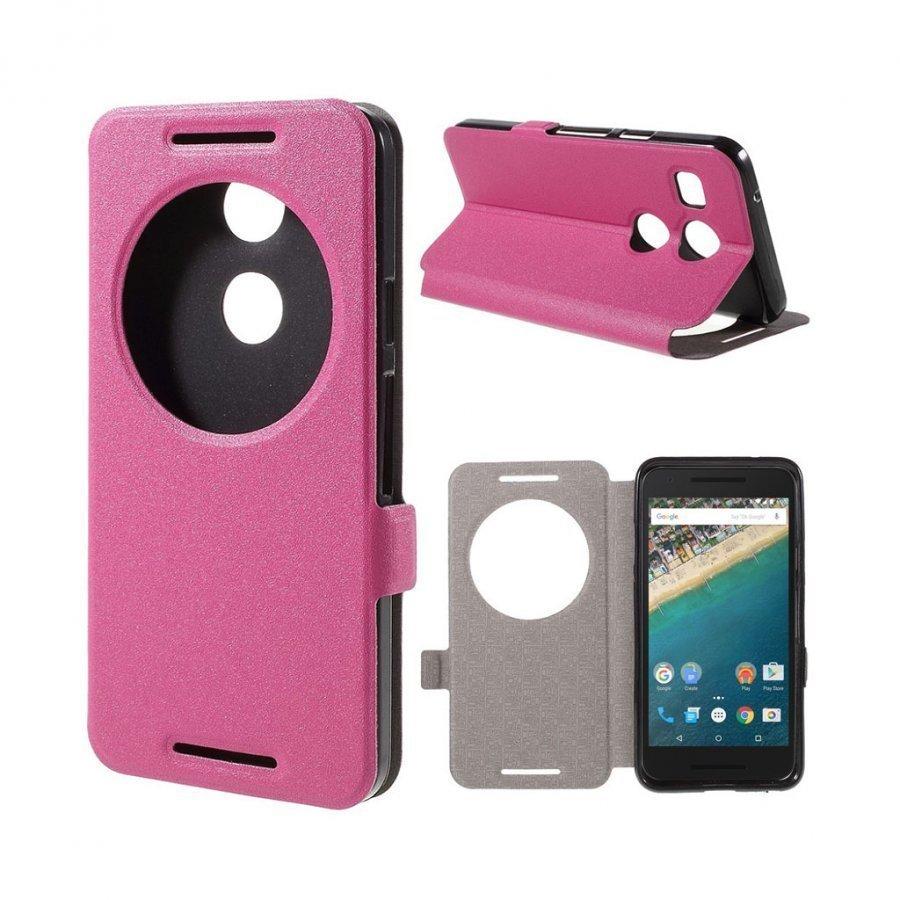 Hamsun Google Nexus 5x Hiekkakuvio Nahkakotelo Läpällä Kuuma Pinkki