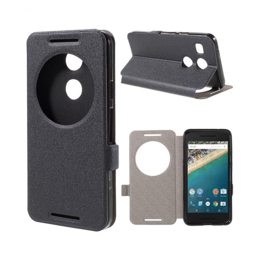 Hamsun Google Nexus 5x Hiekkakuvio Nahkakotelo Läpällä Musta