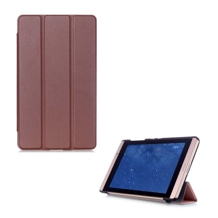 Hamundarson Huawei Mediapad M2 8 Kolmesti Taittuva Nahkakotelo Kahvi