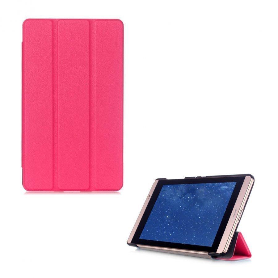 Hamundarson Huawei Mediapad M2 8 Kolmesti Taittuva Nahkakotelo Kuuma Pinkki