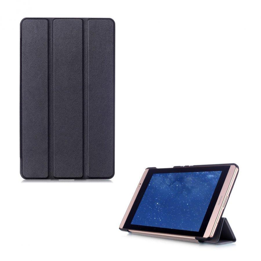 Hamundarson Huawei Mediapad M2 8 Kolmesti Taittuva Nahkakotelo Musta