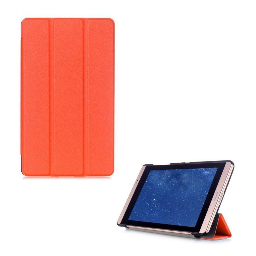 Hamundarson Huawei Mediapad M2 8 Kolmesti Taittuva Nahkakotelo Oranssi