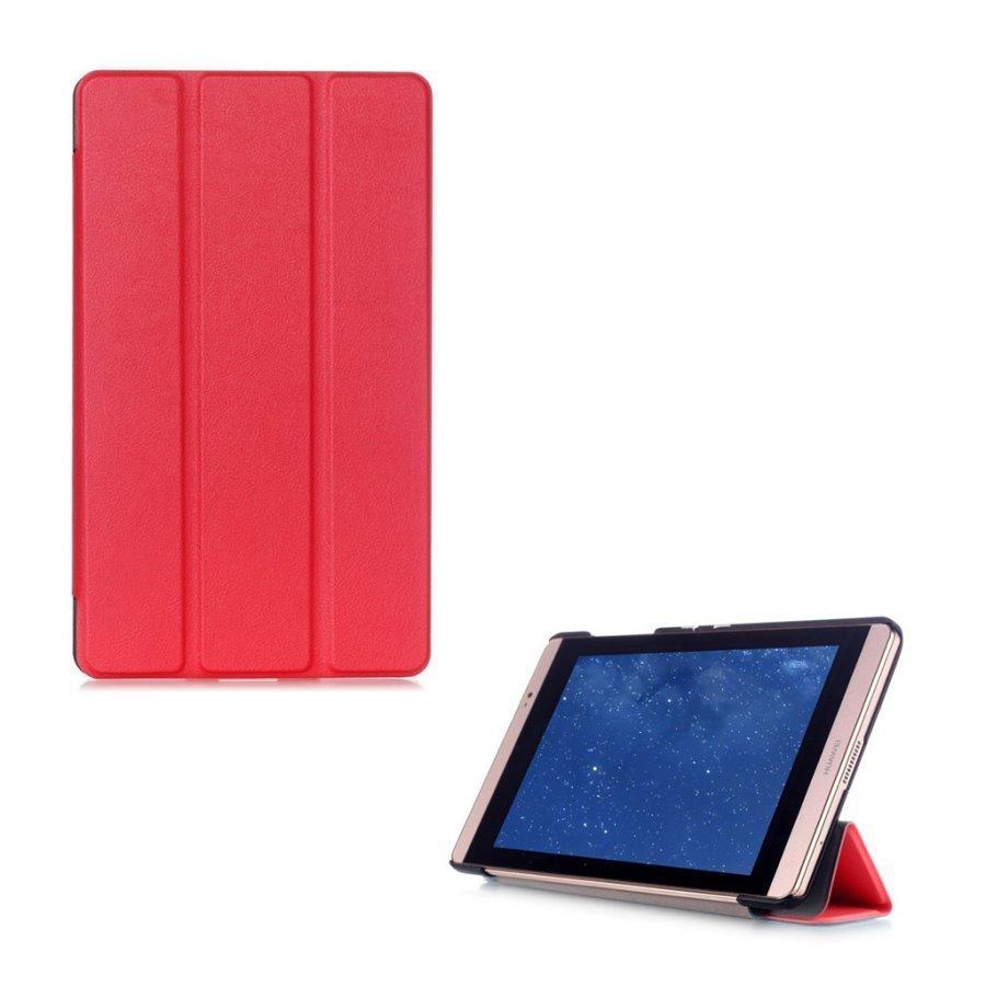 Hamundarson Huawei Mediapad M2 8 Kolmesti Taittuva Nahkakotelo Punainen