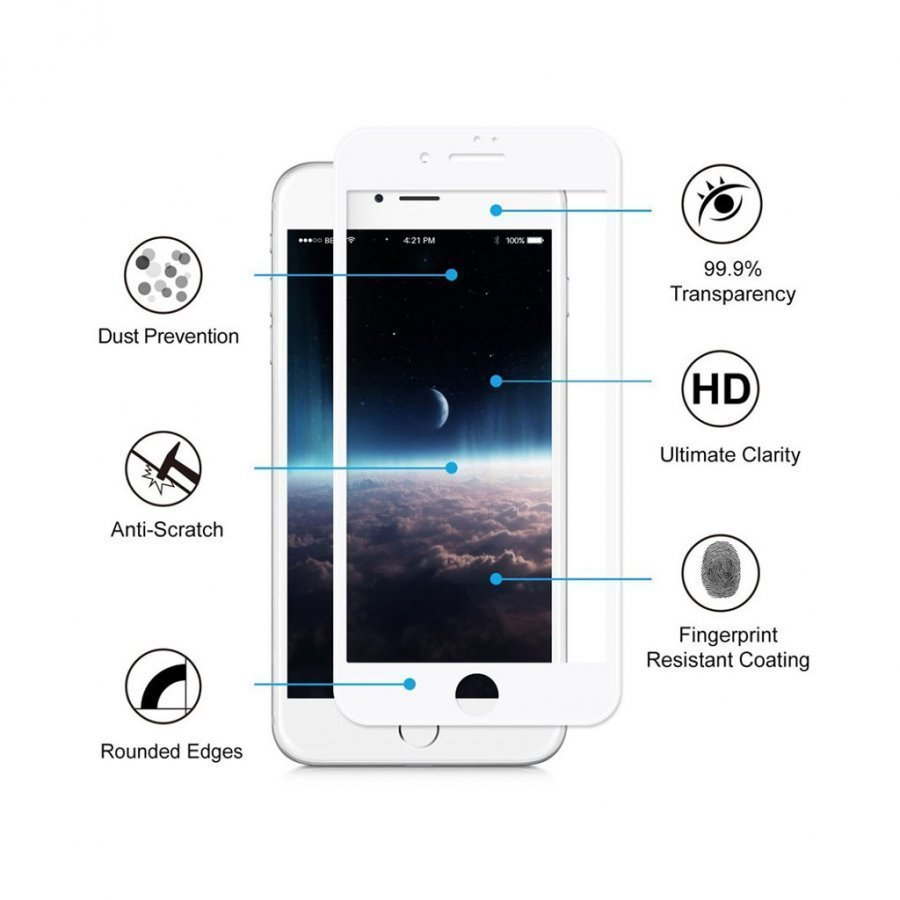 Hat Prince Iphone 7 0.2mm Karkaistu Lasi Näytönsuoja Valkoinen