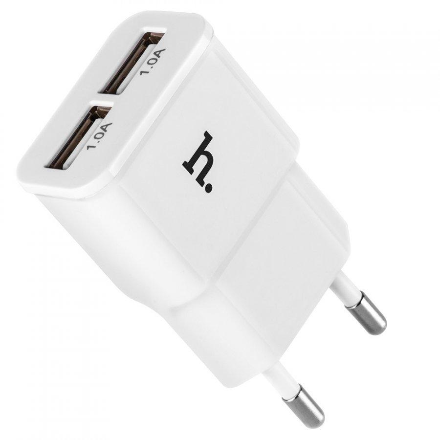 Hoco Uh202 Kaksois-Usb Seinälaturei Adapteri Eu Pistoke Älypuhelimille