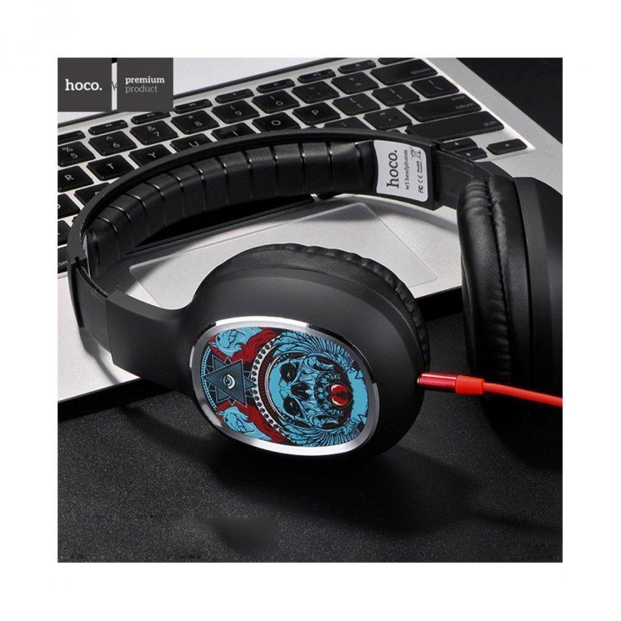 Hoco W1 Kuvioidut Sankakuulokkeet Mikrofonilla Älypuhelimille Pääkallo Ja Kolmio Silmä