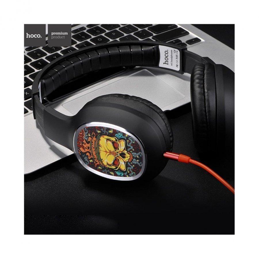 Hoco W1 Kuvioidut Sankakuulokkeet Mikrofonilla Älypuhelimille Palava Pääkallo