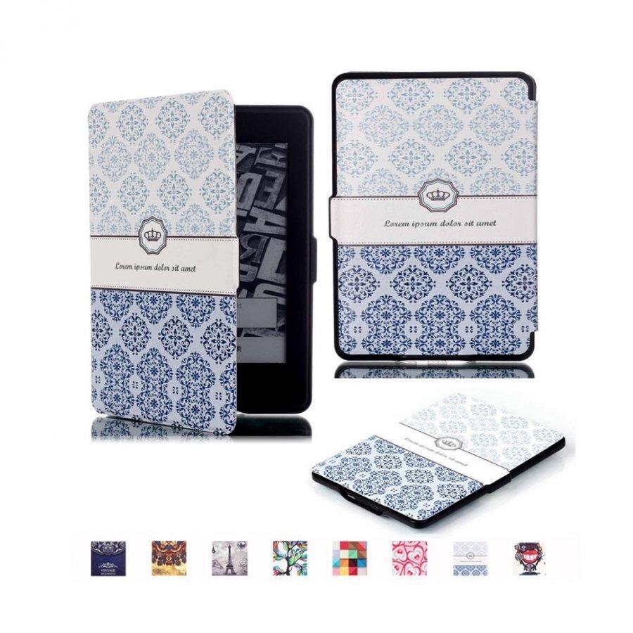 Holberg Amazon Kindle Paperwhite Älykäs Nahkakotelo Retro Kukka