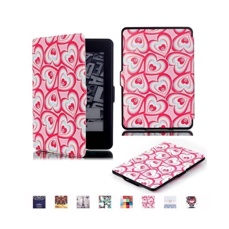 Holberg Amazon Kindle Paperwhite Älykäs Nahkakotelo Useita Sydämmiä