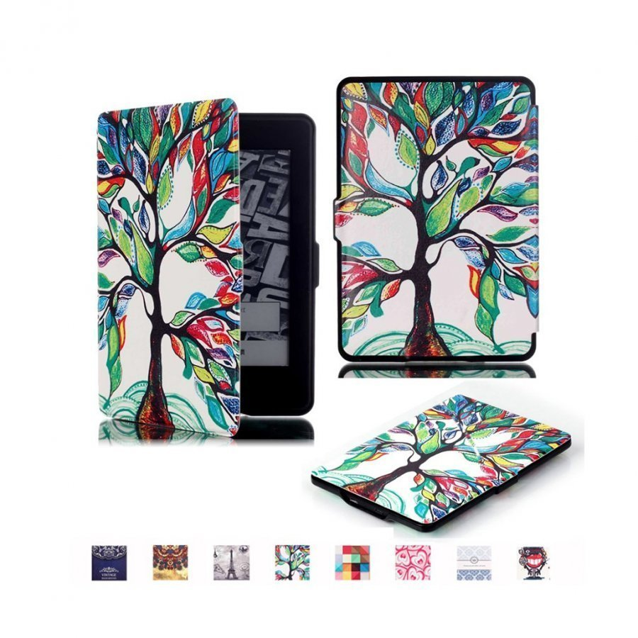 Holberg Amazon Kindle Paperwhite Älykäs Nahkakotelo Värikäs Puu
