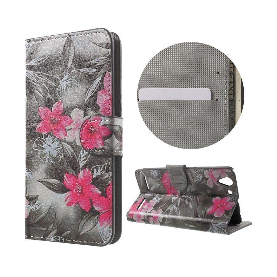 Holberg Lenovo K5 Nahkakotelo Korttitaskuilla Eläväisiä Kukkia