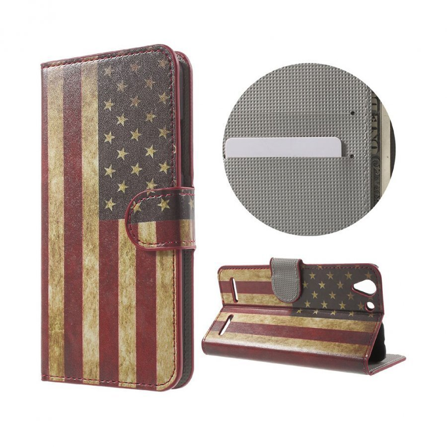 Holberg Lenovo K5 Nahkakotelo Korttitaskuilla Retro Amerikan Lippu