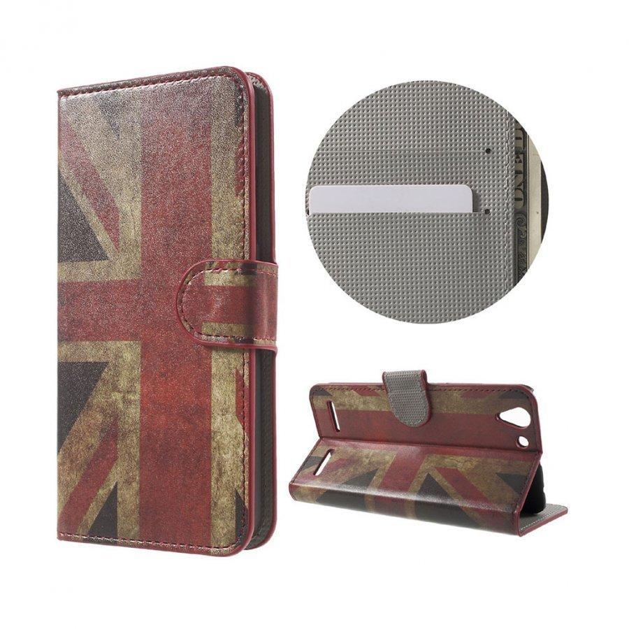 Holberg Lenovo K5 Nahkakotelo Korttitaskuilla Retro Britannian Lippu