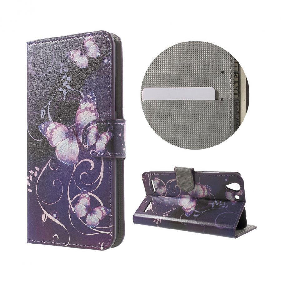 Holberg Lenovo K5 Nahkakotelo Korttitaskuilla Violetit Perhoset