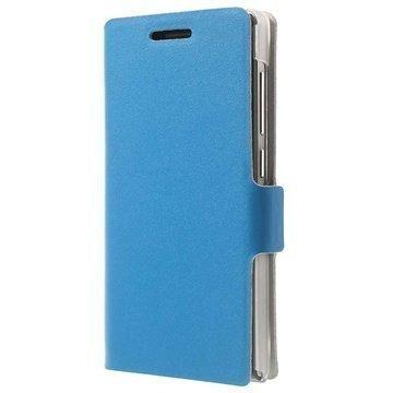 Huawei Ascend G6 Doormoon Wallet Nahkakotelo Sininen