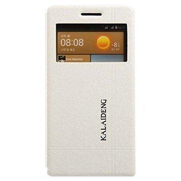 Huawei Ascend G6 Kalaideng Iceland II Avattava Nahkakotelo Valkoinen