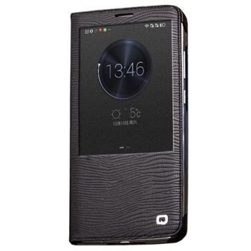 Huawei Ascend Mate7 Qialino Smart Läpällinen Nahkakotelo Liskonnahka Musta