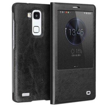Huawei Ascend Mate7 Qialino Smart Läpällinen Nahkakotelo Musta