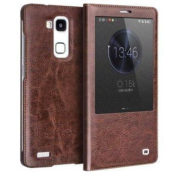 Huawei Ascend Mate7 Qialino Smart Läpällinen Nahkakotelo Ruskea