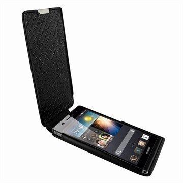 Huawei Ascend P6 Piel Frama iMagnum Nahkakotelo Musta