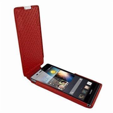 Huawei Ascend P6 Piel Frama iMagnum Nahkakotelo Punainen