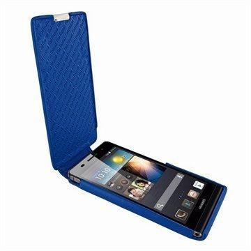 Huawei Ascend P6 Piel Frama iMagnum Nahkakotelo Sininen