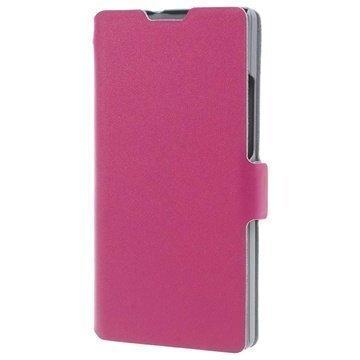 Huawei Ascend P7 P7 Sapphire Edition Doormoon Wallet Nahkakotelo Kuuma Pinkki