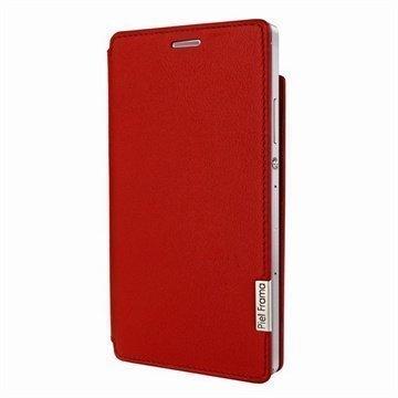 Huawei Ascend P7 Piel Frama Framaslim Nahkakotelo Punainen