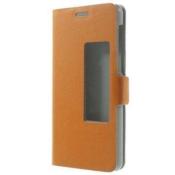Huawei Honor 6 Doormoon View Flip Nahkakotelo Oranssi