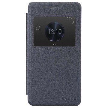 Huawei Honor 6 Plus Nillkin Sparkle Series Smart Ikkunallinen Nahkainen Läppäkotelo Musta