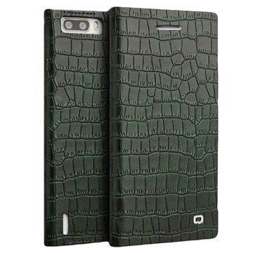 Huawei Honor 6 Plus Qialino Kirjamallinen Läppäkotelo Krokotiilinnahka Vihreä