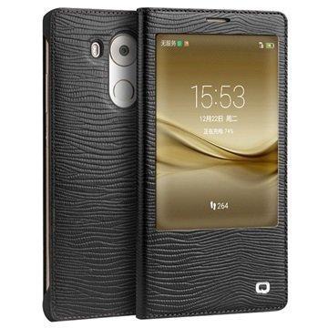 Huawei Mate 8 Qialino Smart Läpällinen Nahkakotelo Liskonnahka Musta