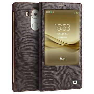 Huawei Mate 8 Qialino Smart Läpällinen Nahkakotelo Liskonnahka Ruskea