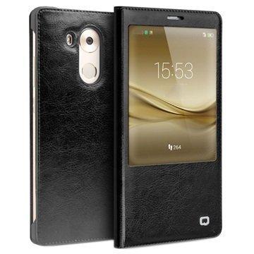 Huawei Mate 8 Qialino Smart Läpällinen Nahkakotelo Musta