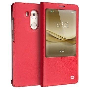 Huawei Mate 8 Qialino Smart Läpällinen Nahkakotelo Punainen