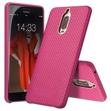 Huawei Mate 9 Pro Mate 9 Porsche Design Qialino Mesh Leather Case Hot Pink