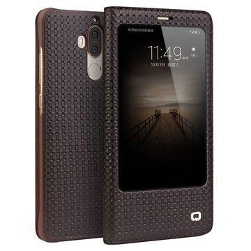 Huawei Mate 9 Qialino Smart View Flip Case Grid Texture Brown