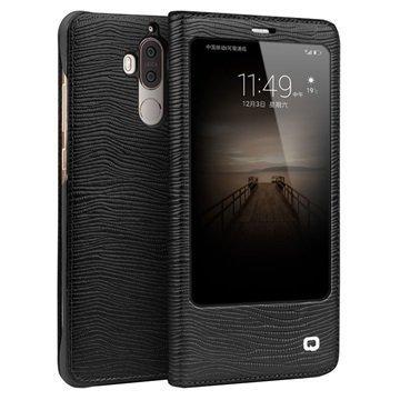 Huawei Mate 9 Qialino Smart View Flip Case Lizard Skin Black