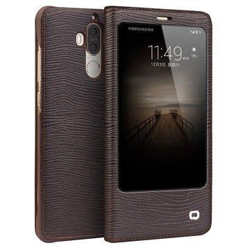 Huawei Mate 9 Qialino Smart View Flip Case Lizard Skin Brown